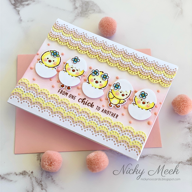 Sunny Studio Stamps: Chickie Baby Eyelet Lace Border Dies Girlfriend Card by Nicky Meek