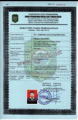 Surat ijin usaha Topindo