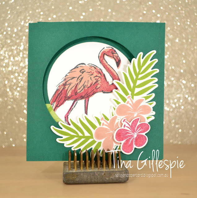 scissorspapercard, Stampin' Up!, Art With Heart, Colour Creations, Tropical Chic Bundle, Fabulous Flamingo, Amazing Life, Tropical Escape DSP, Fancy Fold