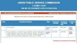 UPSC Exam Download Admit Card for Drug Inspector Exam