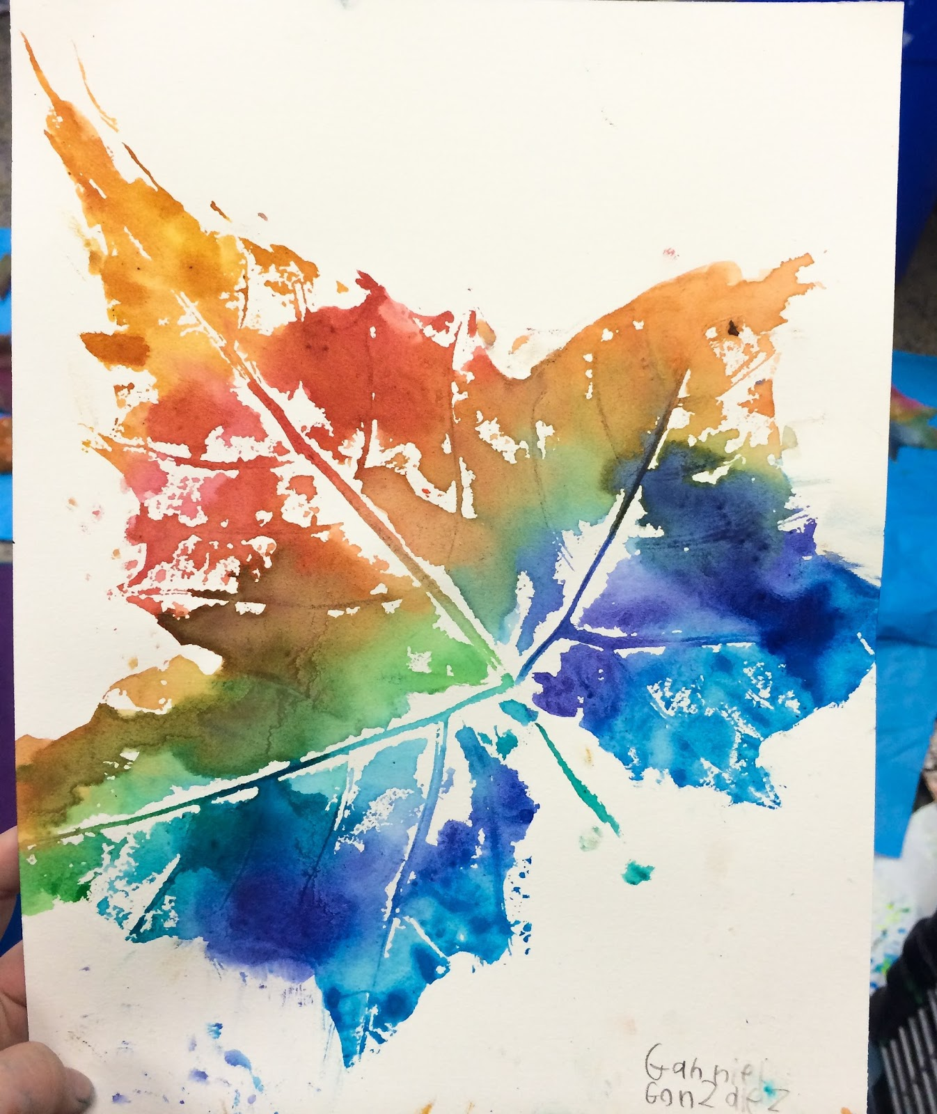 Smart class fall 39 n in love with leaf printing for Making prints of paintings