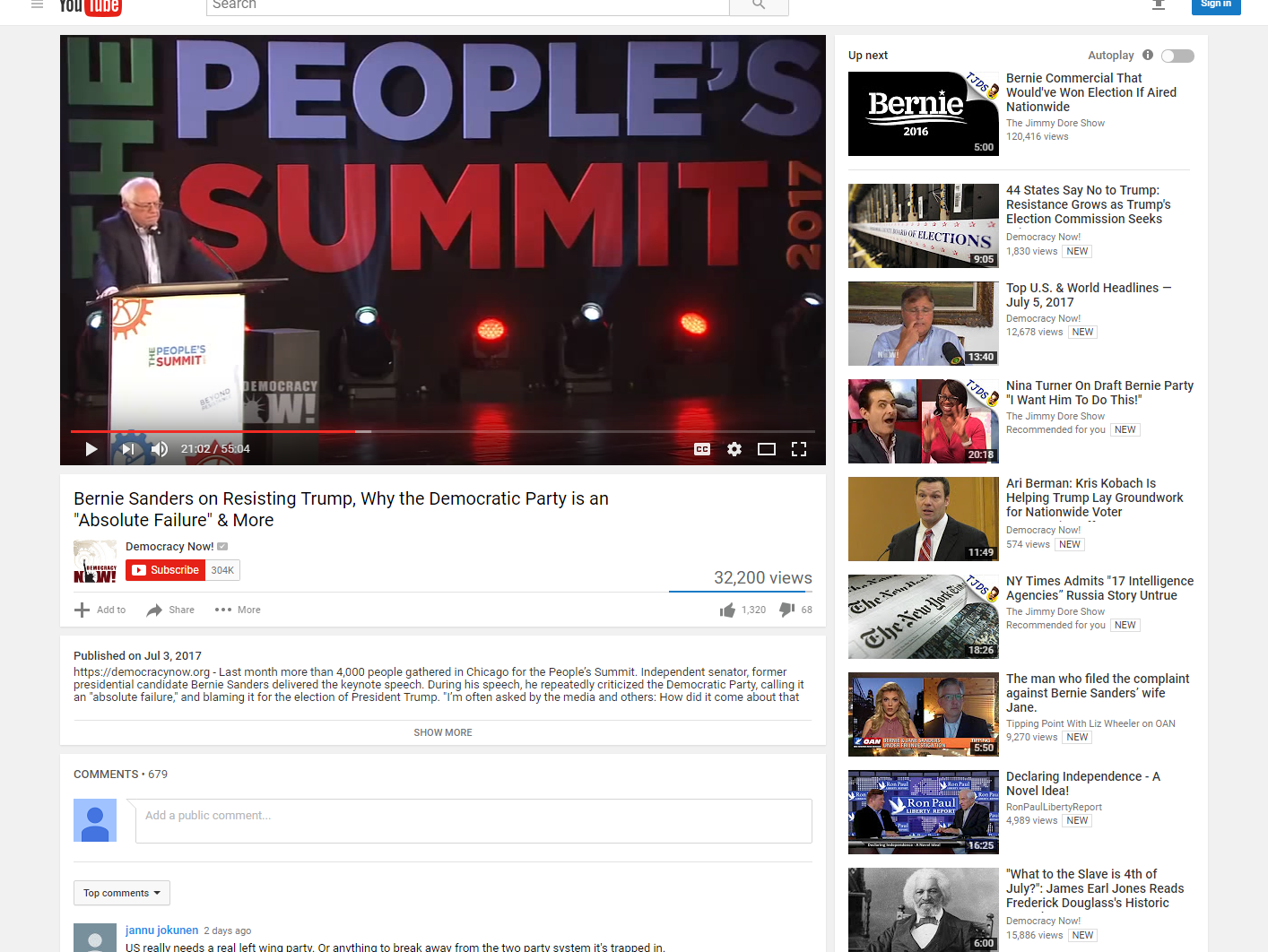 Bernie at the People's Summit. Click the image to watch the video.