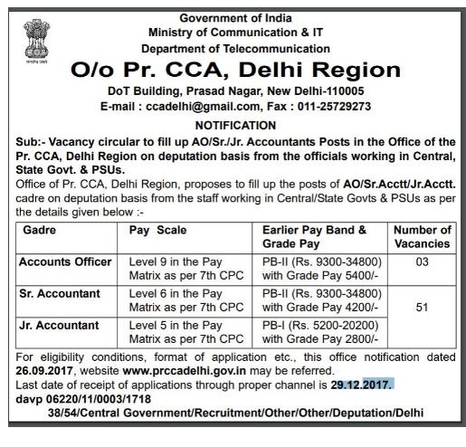 DOT (Department of Telecommunications) Recruitment Notification 2017