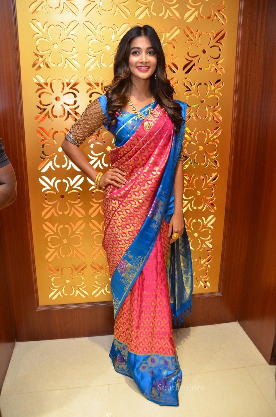 Pooja Hegde Traditional Saree Photos At Anutex Shopping -2431