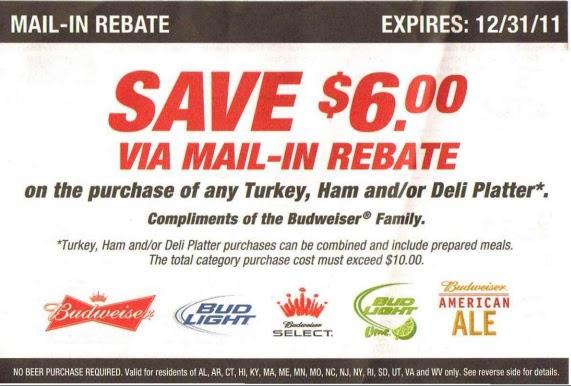 Coupon STL: Budweiser Beer Rebate - $6 on Turkey, Ham or