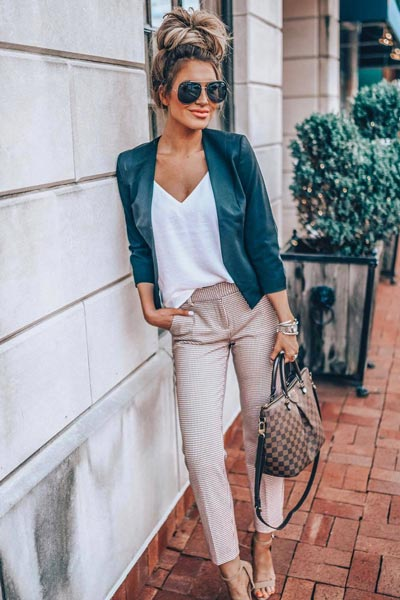 19 Preppy Fall Inspired Outfits to Try this Season | Downtown Cami + Mid Rise Ankle Pants + Blazer + Sandals