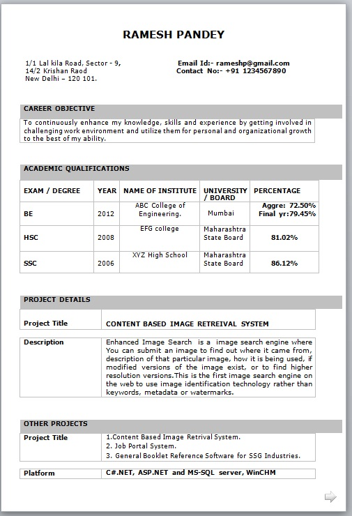 it fresher resume format in word