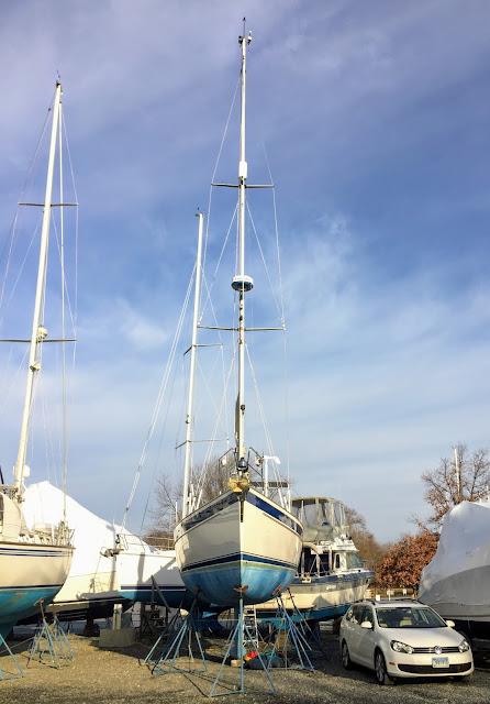 Hallberg-Rassy 37 sailboat on land drydocked on jackstands