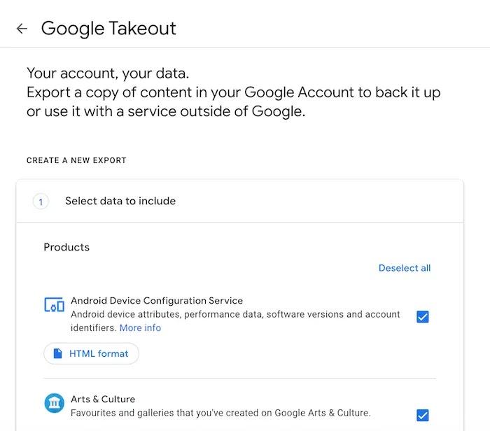 يمكنك تنزيل بيانات Google الخاصة بك باستخدام Google Takeout.