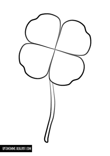 An easy coloring page of a four leaf clover / Helppo värityskuva nelilehtisestä apilasta