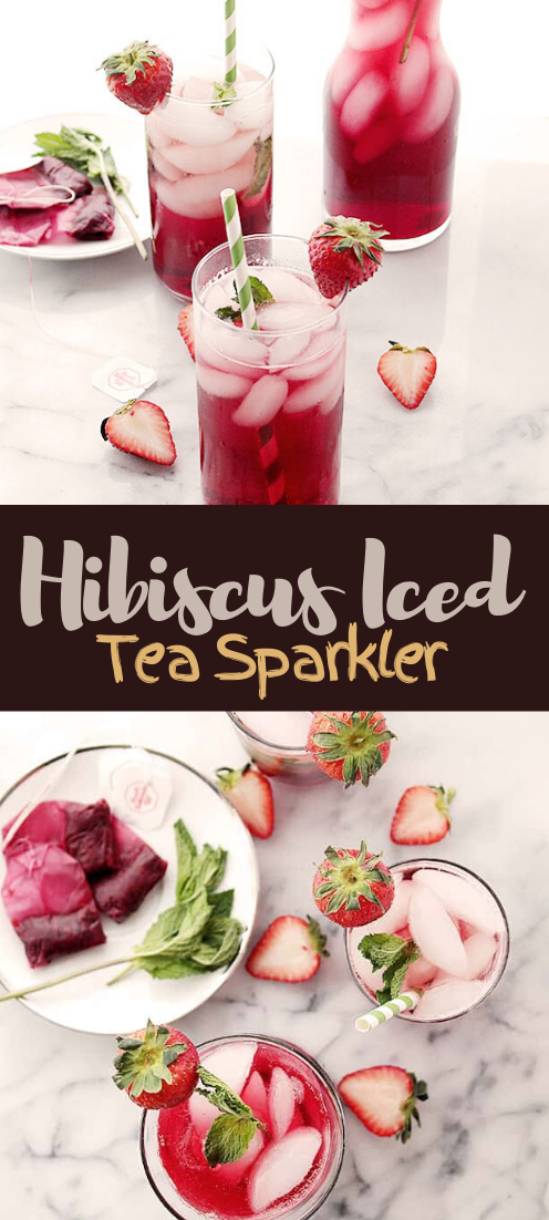 Hibiscus Iced Tea Sparkler #healthydrink #drinkrecipe #smoothiehealthy #cocktail