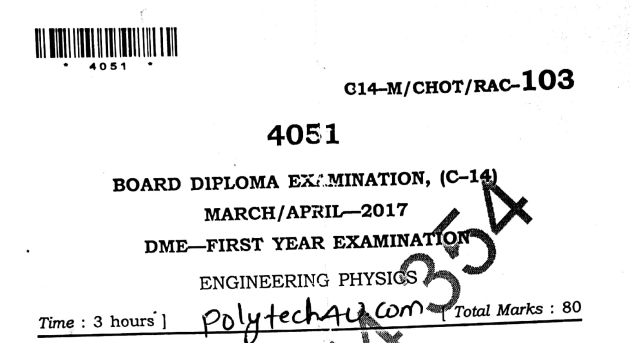 Diploma Engineering Physics Previous Question Paper c14 Mechanical March/April-2017