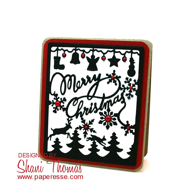 Merry Christmas card made with single large die-cut, by Paperesse.