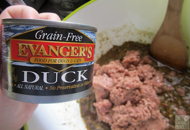 using Evanger's duck canned food in wellychef dog food