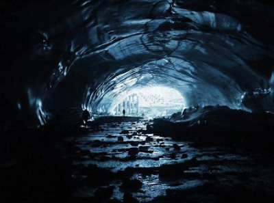 Graphics of an underground Alien Base in Antarctica.