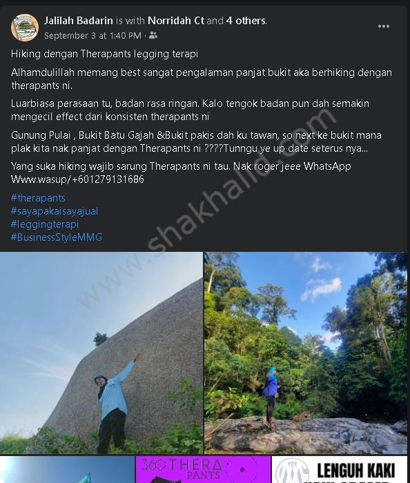 testimoni therapants hiking kak jalilah