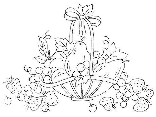 Hình tô màu giỏ hoa qủa đẹp cho bé