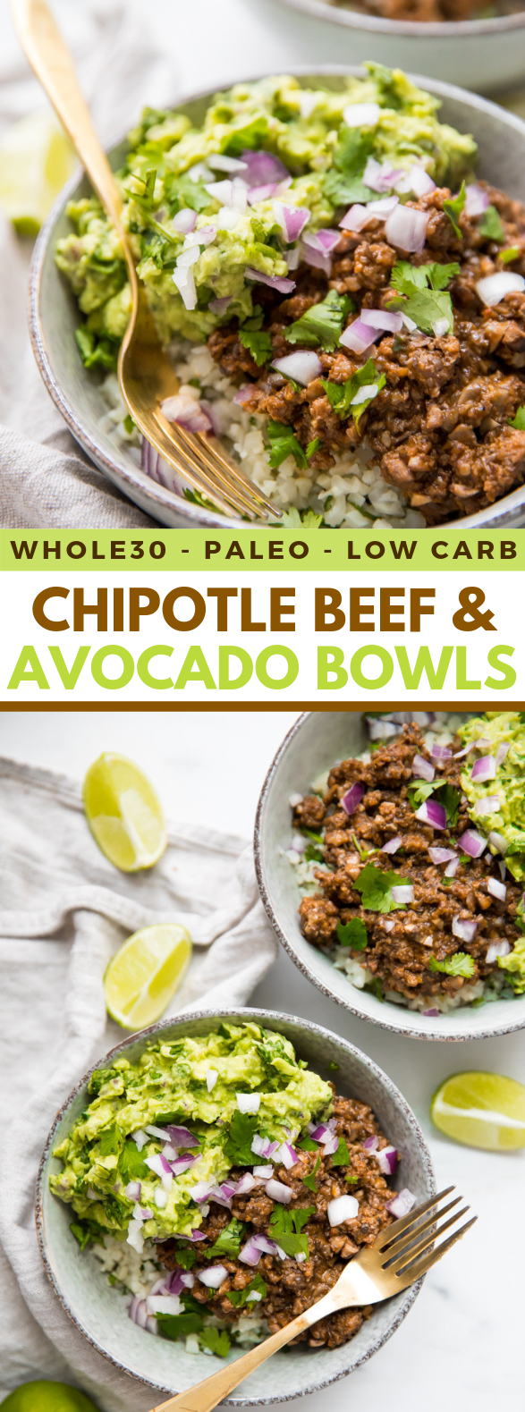 Whole30 Chipotle Beef & Avocado Bowls (Paleo Sofritas Copycat) #healthydiet #cleaneating