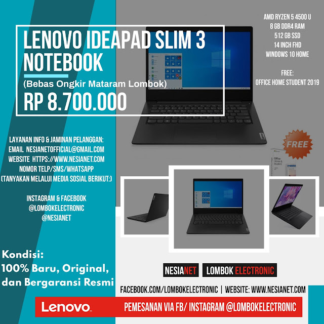 Jual Lenovo Ideapad Slim 3 Notebook Mataram Lombok