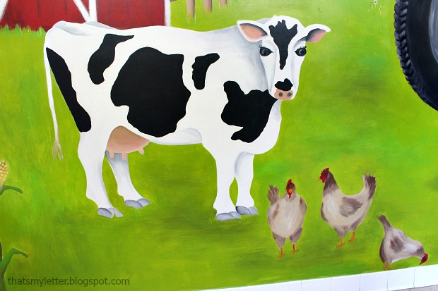 diy painted farmyard wall mural