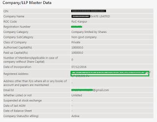 Ex: Company Registration Details