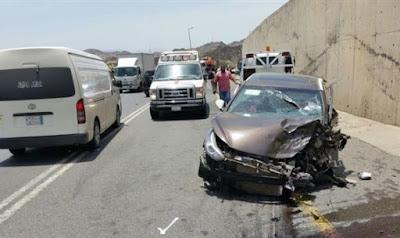 حادث تصادم سيارتين أعلى محور 26 يوليو