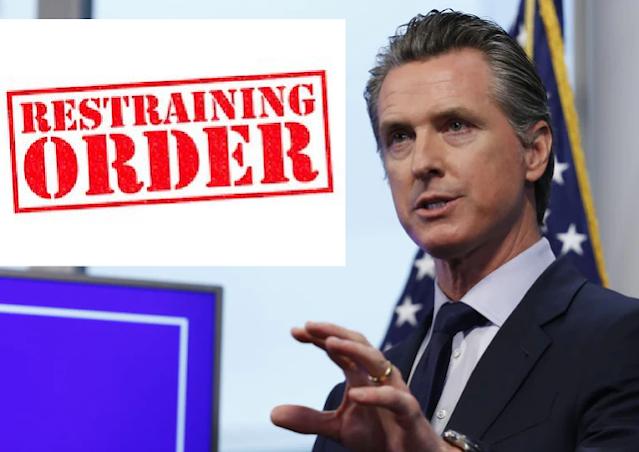 restraining order Gavin Newsom