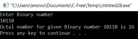 Binary to Octal Conversion in C
