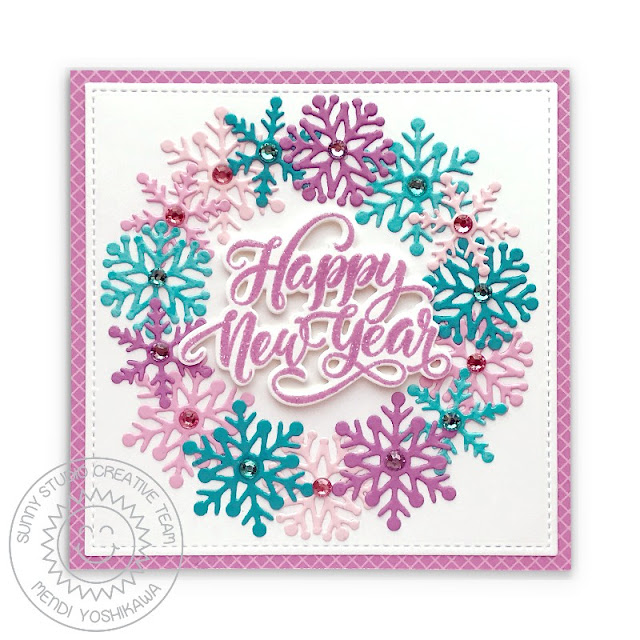 Sunny Studio Winter Wreath Happy New Year Holiday Card (using Lacy Snowflakes Die, Stitched Rectangle Dies, Season's Greetings Stamps & Gingham Pastels Paper)