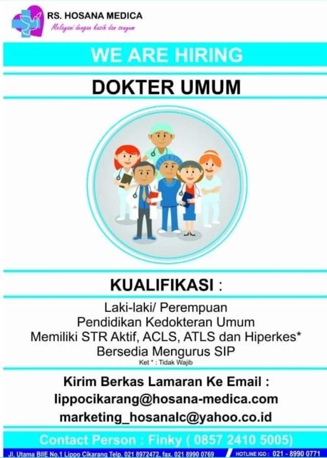 Loker Dokter RS Hosana Medica Cikarang, Bekasi, Jawa Barat