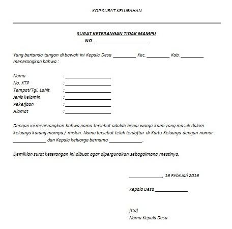 Contoh Surat Keterangan Tidak Mampu Untuk Bansos Cara Buat