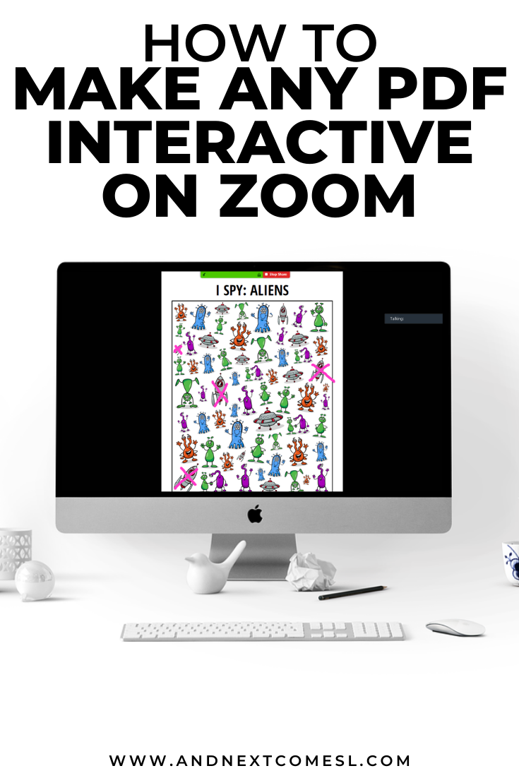 Zoom tips for teachers and teletherapists: how to screenshare and annotate PDF printables on Zoom and make them interactive for kids