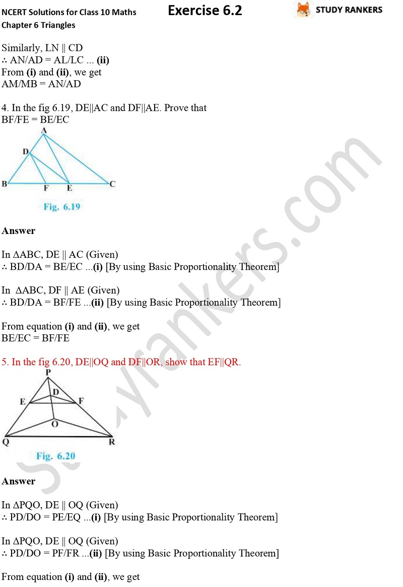 NCERT Solutions for Class 10 Maths Chapter 6 Triangles Exercise 6.2 Part 3