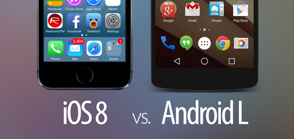 Visual Comparison of iOS 8 vs Android L Features, Icons, UI Elements, Functionality
