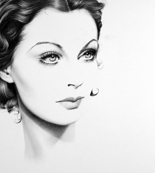 17-Vivien-Leigh-Ileana-Hunter-Celebrity-Black-and-White-Stylish-Drawing-Portraits-www-designstack-co