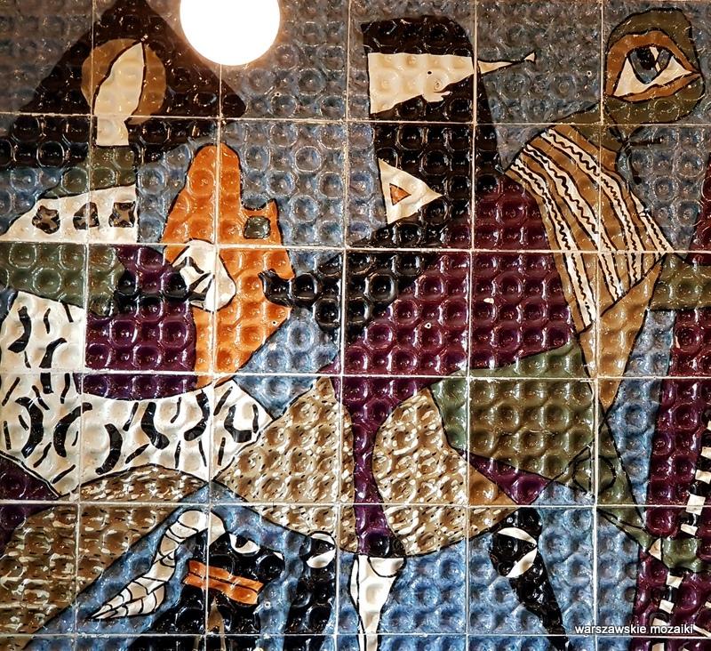 Warszawa Warsaw mozaika 1960 zachęta Helena Lech Grześkiewicz Marszałkowska 45/49 warszawskie mozaiki okładzina ceramiczna ceramika  u krawców manekiny