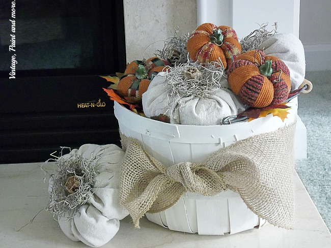 Vintage, Paint and more... punpkins made from drop cloth in a farmhouse basket
