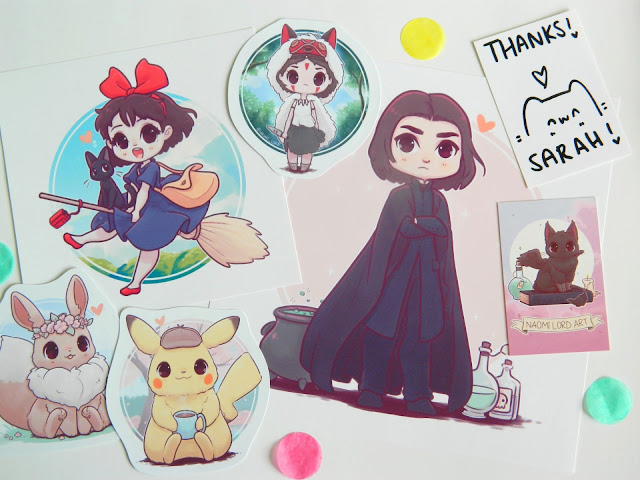 A photo showing a haul from Naomi Lord Art, stickers and prints