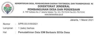 Surat Menteri Desa PDTT Tentang Pemutakhiran Data Indeks Desa Membangun (IDM) SDGs Desa