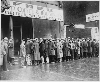 unemployed men outside a soup kitchen