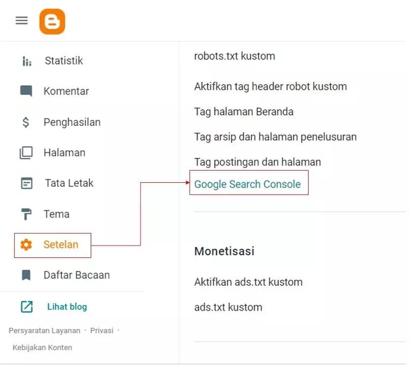 Google search console from blogger dasbor