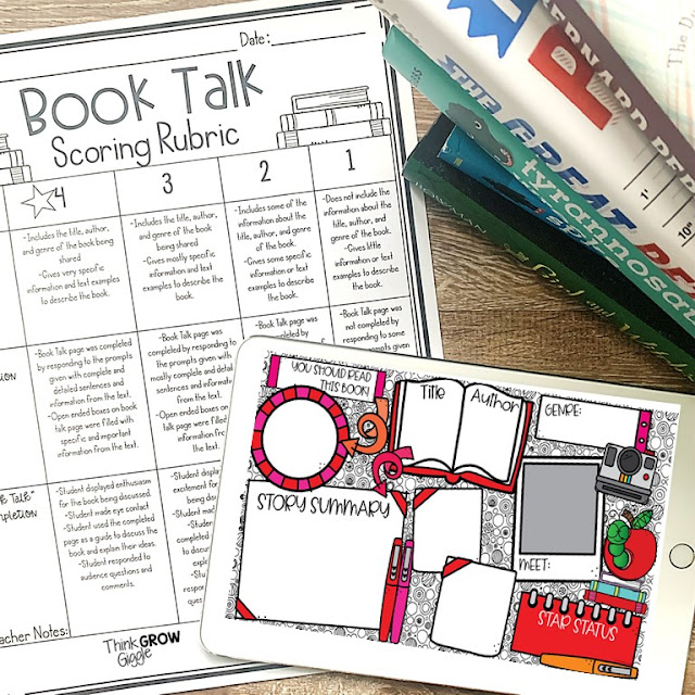 book talk templates for classroom or virtual learning