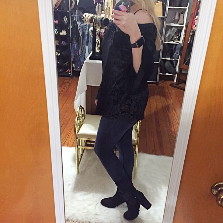 black crushed velvet off the shoulder top outfit of the day