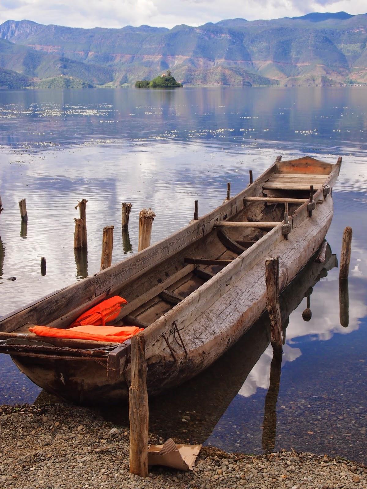 A boat in Lugu lake