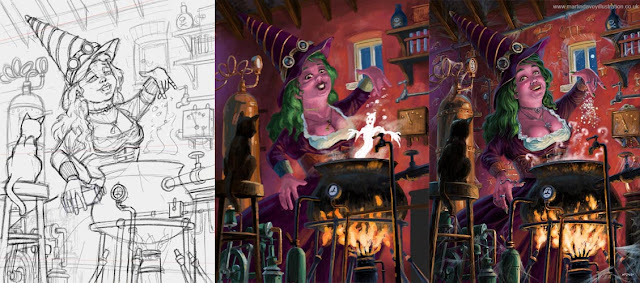 steampunk witch halloween art WIP Martin Davey