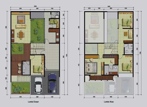 Denah Rumah Dengan Ukuran  Meter