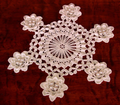 White Rose Doily with Pearl Beads Inside Each 3D Rose