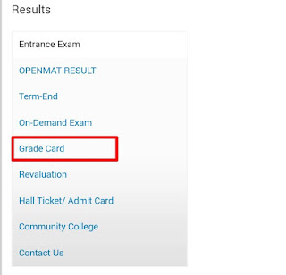 ignou grade card download