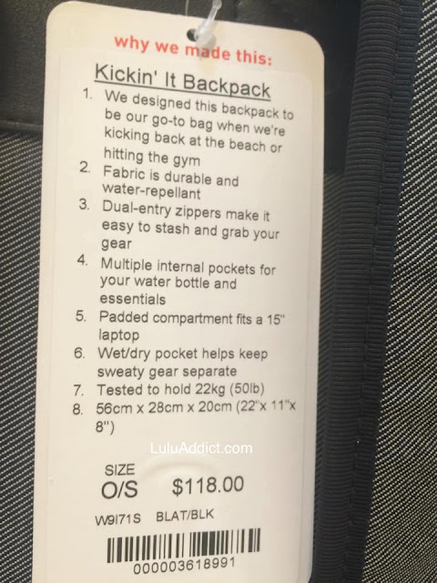 lululemon kickin-it backpack
