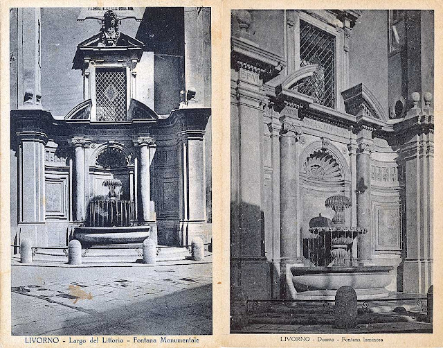 Old postcards of the Monumental fountain of largo del Littorio / largo Duomo, Livorno